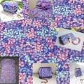 Ткань сиренево-голубая, рисунок цветы гортензии