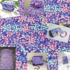 Ткань сиреневая, рисунок цветы гортензии