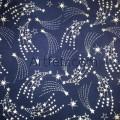 Ткань звездное небо и кометы серебряные звезды