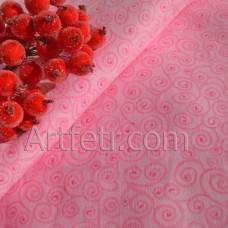 Ткань розовая с завитками, хлопок для кукол и пэчворка