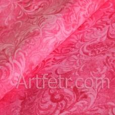 Ткань розовая морозный узор, хлопок для кукол и пэчворка