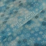 Снежинки на голубом ткань с глиттером