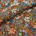 Коричневая ткань в оранжевые и голубые цветы