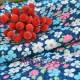 Ткань синяя цветы льна голубого, белого и розового цвета