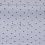 Ткань хлопок серые звезды на нежно-голубом фоне