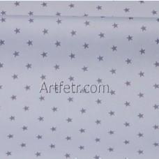 Ткань хлопок серые звездочки на нежно-голубом фоне