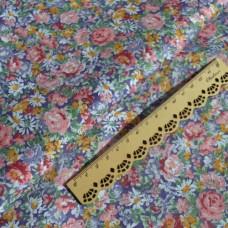 Розочки и цветы ромашки на сиреневом, ткань хлопок