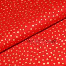 Ткань красная в золотой горошек