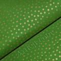 Ткань зеленая в золотой горошек