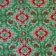 Ткань рождественская красный, зеленый с золотым контуром