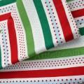 Рождественский принт в красно-зеленую полоску и горошки