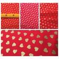 """Хлопковая ткань """"Сердечки"""" Joann Fabric, красный, золотое напыление"""