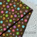 Ткань с совами, цветочками и бабочками на коричневом
