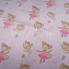 Хлопок нежно-розовый с обезьянками-балеринами